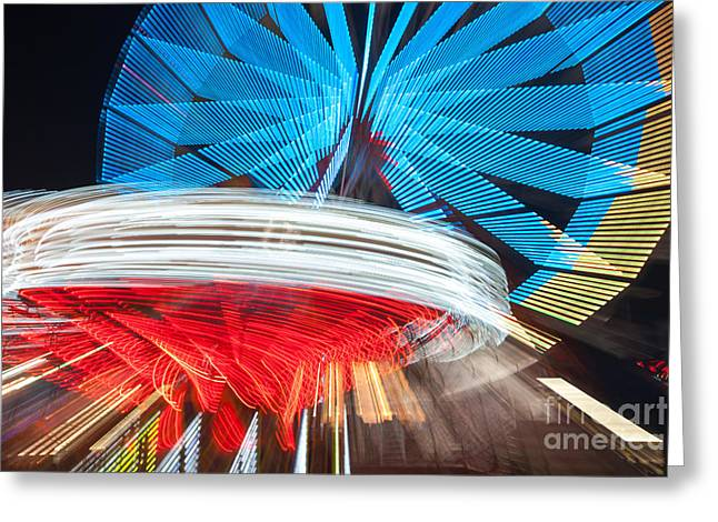 State Fair Rides At Night II Greeting Card