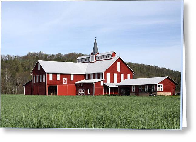 Stately Red Barn With Elongated Clerestory Cupola Greeting Card by John Stephens