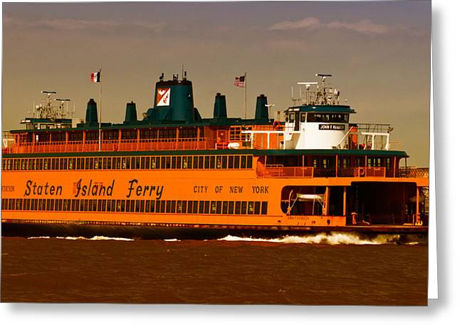 Greeting Card featuring the photograph Staten Island Ferry by Nancy De Flon