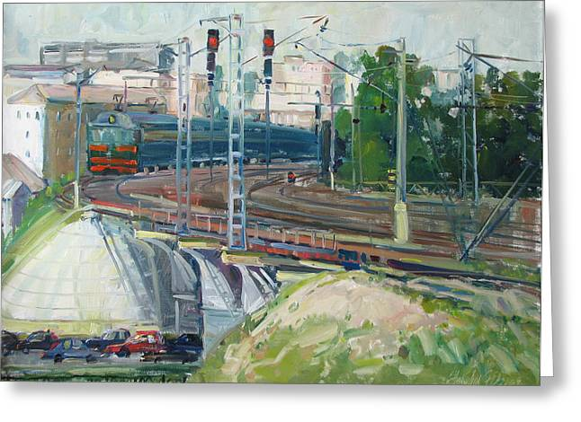 Station Near To Moscow Greeting Card by Juliya Zhukova