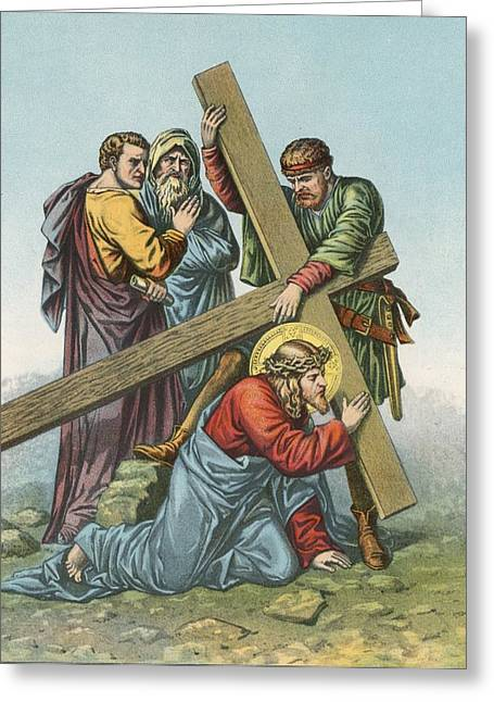Station Vii Jesus Falls Under The Cross The Second Time Greeting Card