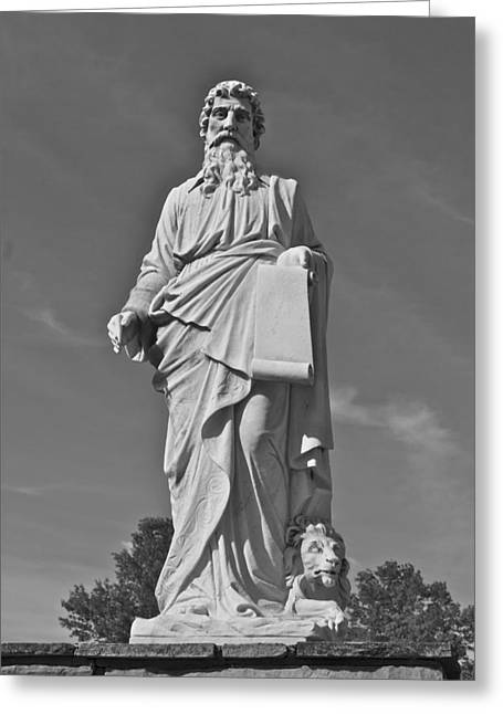 Statue 01 Black And White Greeting Card by Thomas Woolworth