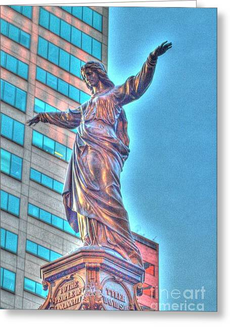 Statue At Fountain Square Greeting Card
