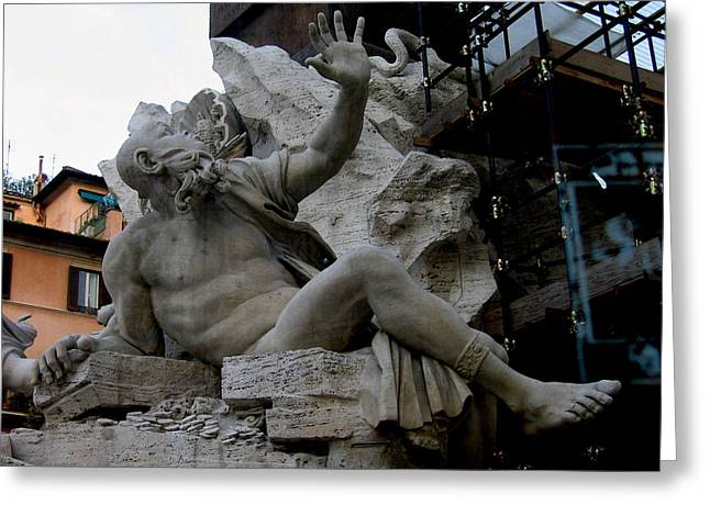 Statue At Piazza Greeting Card by Suhas Tavkar