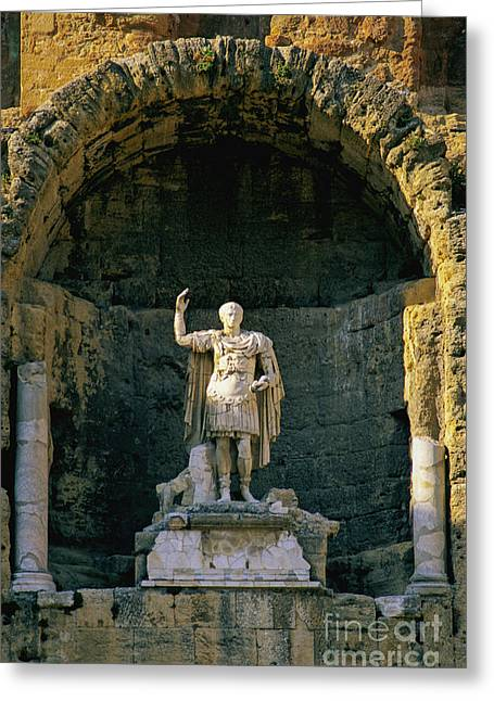 Statue De L'empereur Auguste Dans Le Theatre D'orange. Greeting Card by Bernard Jaubert