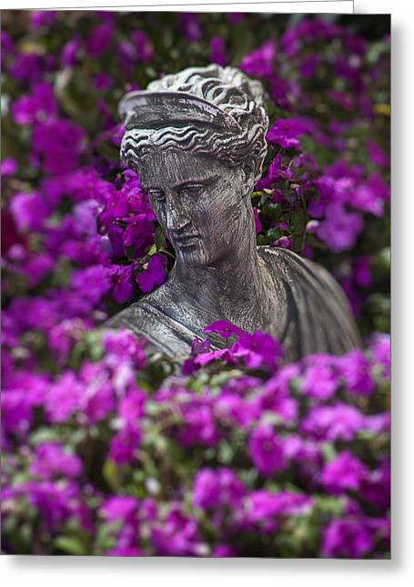 Statue In The Garden Greeting Card by Garry Gay