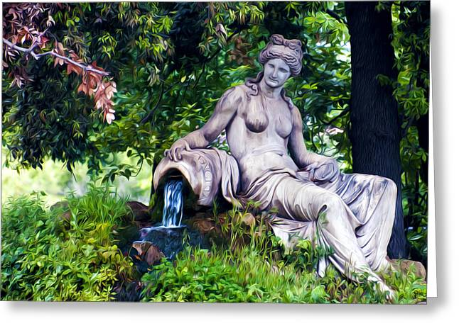 Statue In The Woods Greeting Card by Fabrizio Troiani