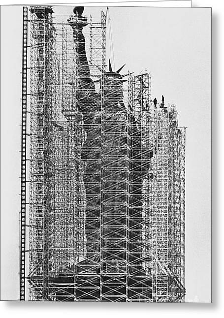 Statue Of Liberty Being Renovated Greeting Card by Jan Lukas and Photo Researchers
