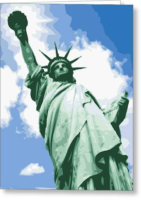Statue Of Liberty Color 16 Greeting Card by Scott Kelley
