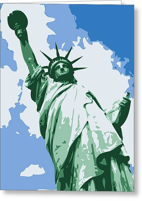 Statue Of Liberty Color 6 Greeting Card by Scott Kelley