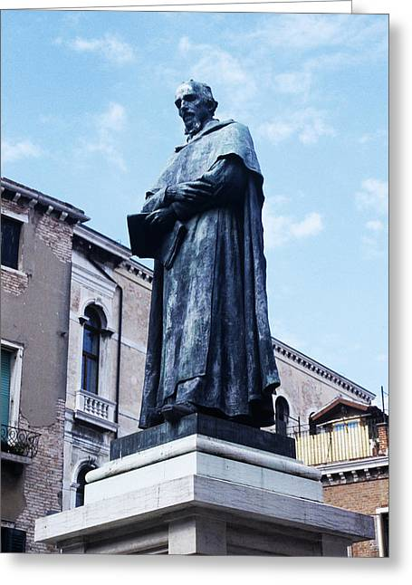 Statue Of Paolo Sarpi, Venetian Scientist Greeting Card by Sheila Terry