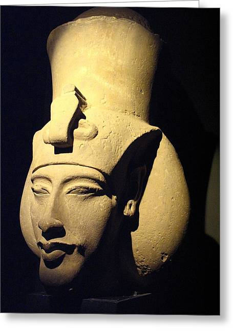 Statue Of Pharaoh Akhenaten, Also Known Greeting Card by Richard Nowitz