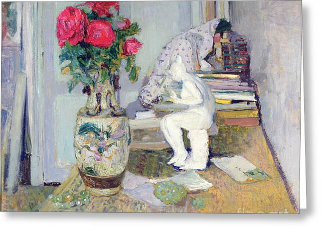 Statuette By Maillol And Red Roses Greeting Card by Edouard Vuillard