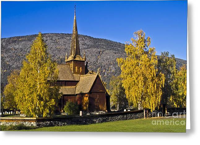 Stave Church In Lom Greeting Card by Heiko Koehrer-Wagner