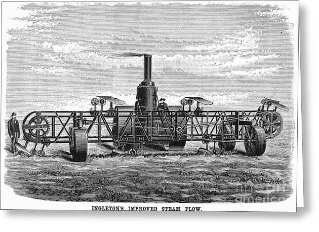 Steam Plough, 1892 Greeting Card