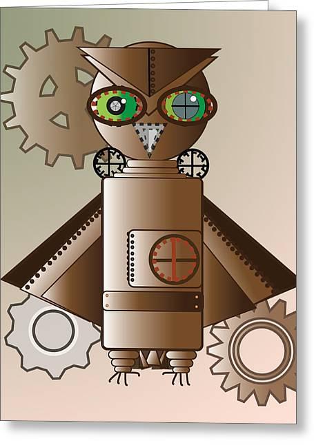 Steam Punk Robot Owl Greeting Card by Barbara Giordano