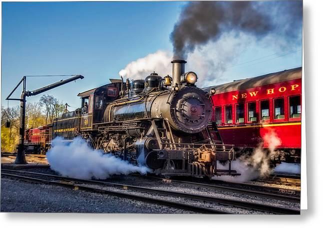 Steam Train No. 40 Greeting Card by Susan Candelario