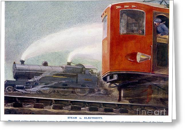 Steam Trains Versus Electric Greeting Card by Mary Evans and Photo Researchers