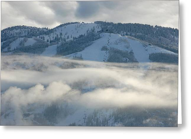 Greeting Card featuring the photograph Steamboat Ski Area In Clouds by Don Schwartz