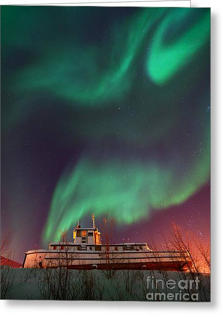 Steamboat Under Northern Lights Greeting Card