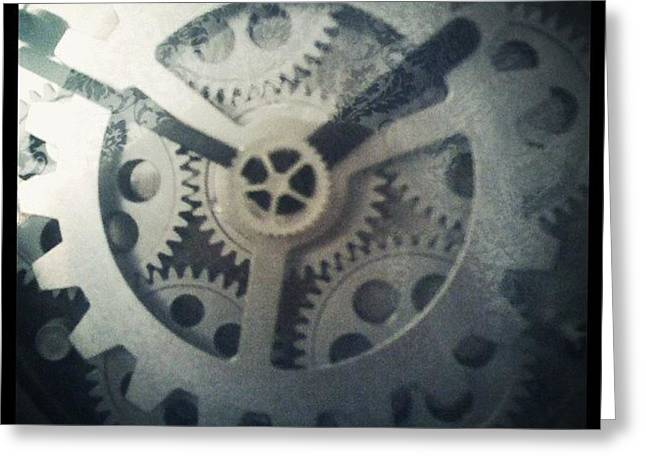 #steampunk #gears #clock #webstagram Greeting Card by KLH Streets Photography