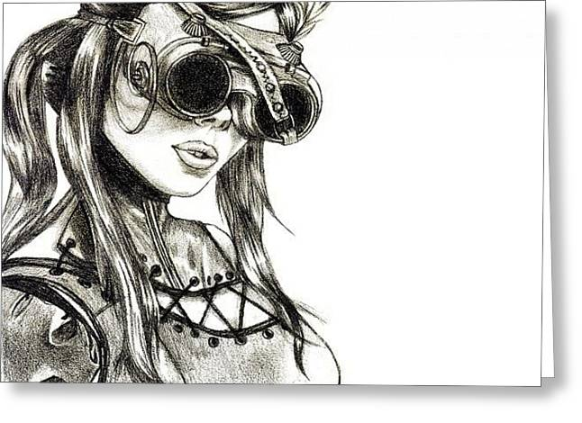 Steampunk Girl 1 Greeting Card by Andres R