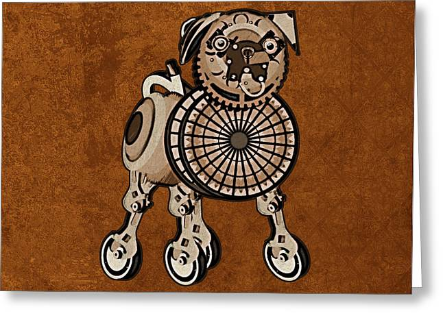 Steampunk Pug Greeting Card by Mary Ogle