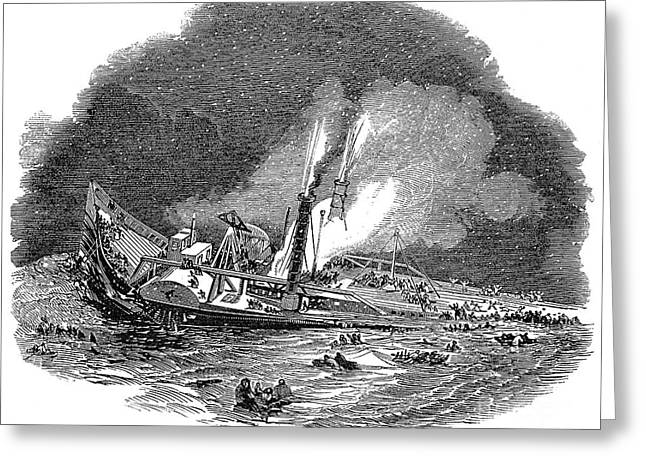 Steamship Accident, 1845 Greeting Card