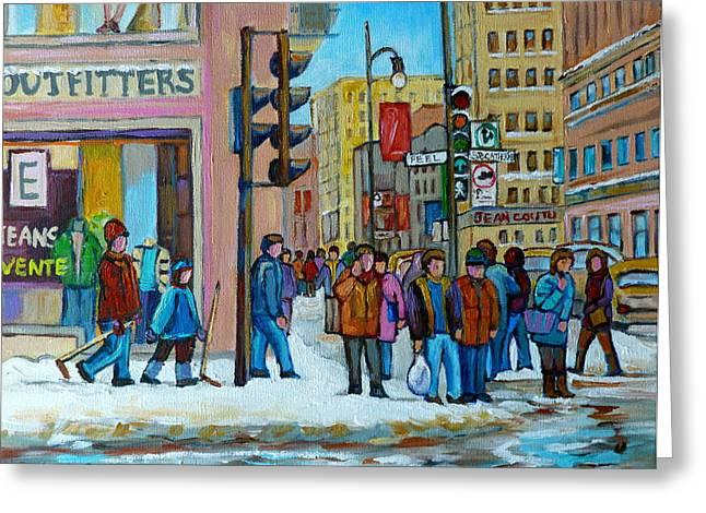 Ste.catherine And Peel Streets Greeting Card by Carole Spandau