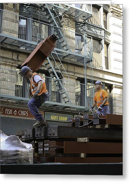 Steel And Girders Greeting Card by Cathy Brown