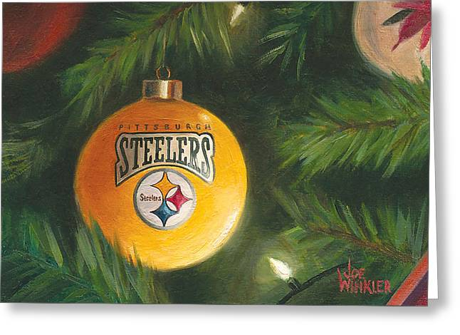 Greeting Card featuring the painting Steelers Ornament by Joe Winkler