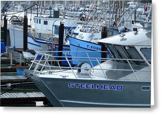 Steelhead And Fishing Boats Greeting Card by Jeff Lowe