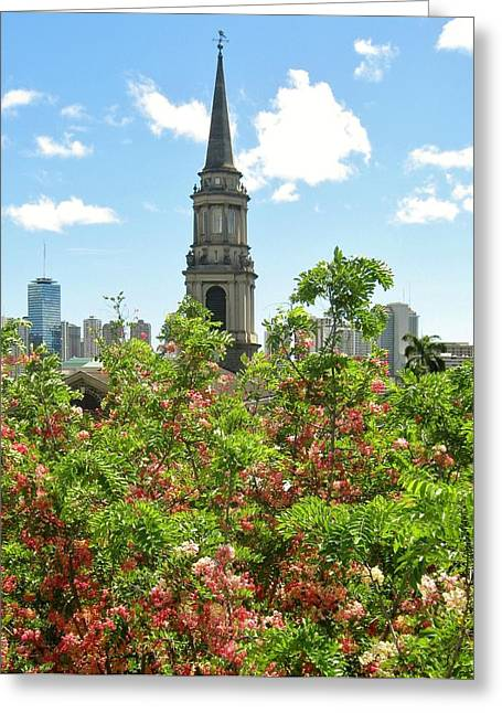Greeting Card featuring the photograph Steeple Peeks Through Shower Trees by Craig Wood