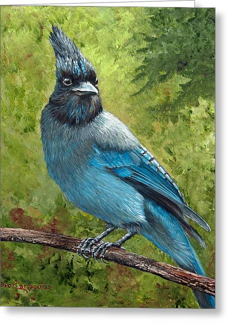 Stellar Jay Greeting Card by Dee Carpenter