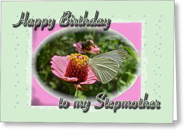 Stepmother Birthday Greeting Card - Butterfly On Flower Greeting Card