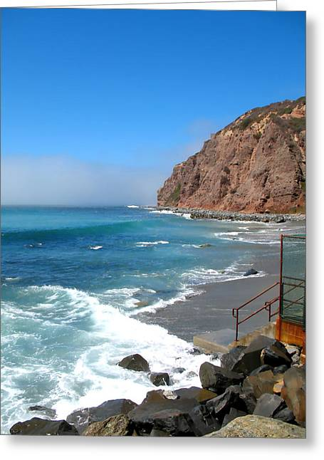 Steps To The Beach. Dana Point California Greeting Card by Connie Fox