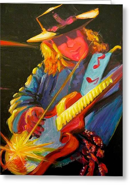 Stevie Ray Vaughn Greeting Card by Jeanette Jarmon