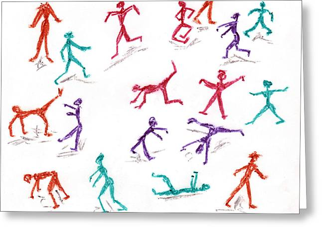 Stickmen October Two Thousand One Greeting Card by Carl Deaville