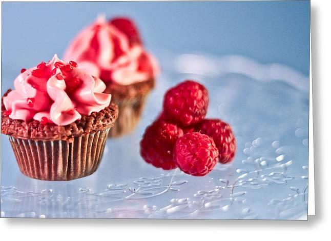 Sticky Raspberry Chocolate Cupcake Greeting Card by Birgitta Forsberg