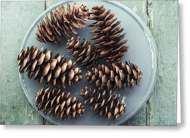 Stil Life With  Seven Pine Cones Greeting Card by Priska Wettstein