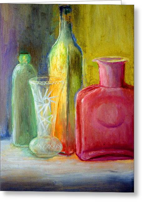 Still Life Bottles And Vase Greeting Card