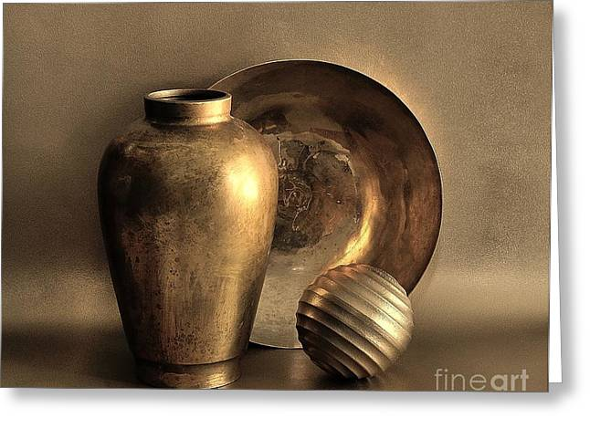 Still Life In Gold Greeting Card by Mark Fuller