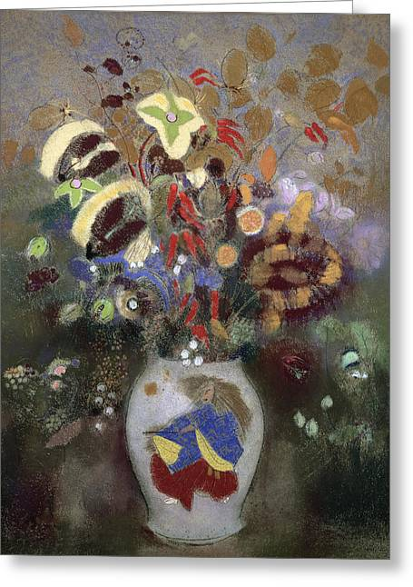 Still Life Of A Vase Of Flowers Greeting Card