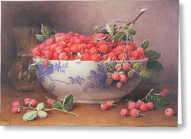 Still Life Of Raspberries In A Blue And White Bowl Greeting Card by William B Hough