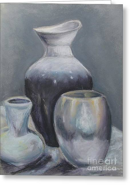 Greeting Card featuring the pastel Still Life Pastel by Melinda Saminski