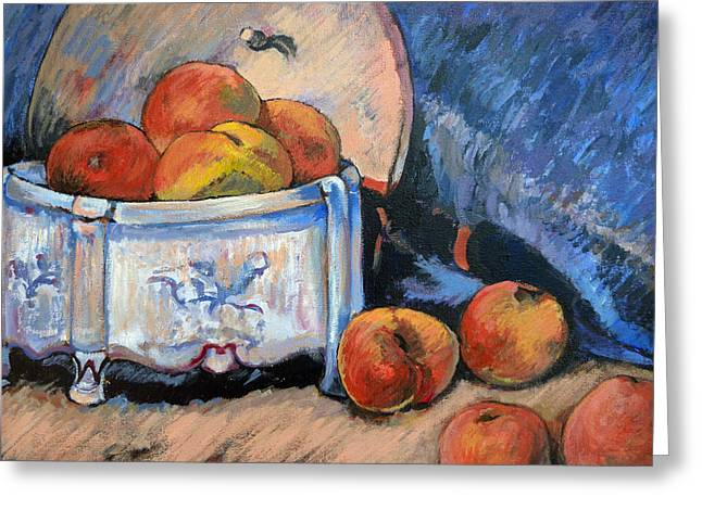 Greeting Card featuring the painting Still Life Peaches by Tom Roderick