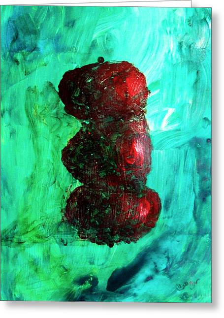 Still Life Red Apples Stacked On Green Table And Wall Fruit Is About To Topple Smush Impressionistic Greeting Card by M Zimmerman MendyZ