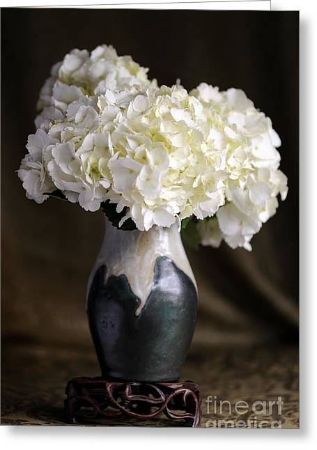 Still Life Vase With Hydrangeas Greeting Card