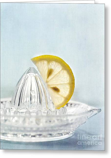 Still Life With A Half Slice Of Lemon Greeting Card by Priska Wettstein