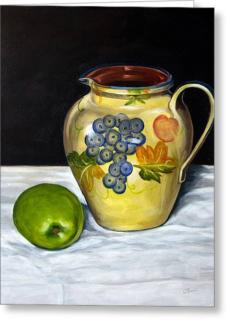 Still Life With Apple And Pitcher Greeting Card by John OBrien